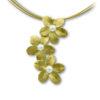 Ασημένιο 925 επίχρυσο κολιέ τριπλή μαργαρίτα με μαργαριτάρι - Chxaos